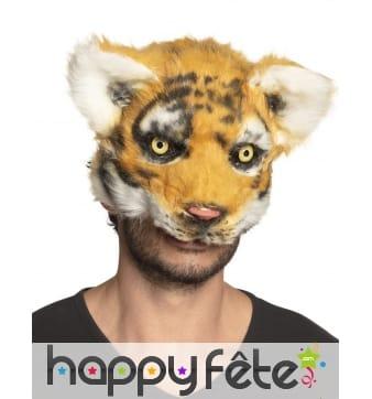 Masque de tigre avec pelage pour adulte