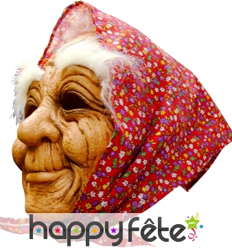 Masque de vieille intégral avec foulard
