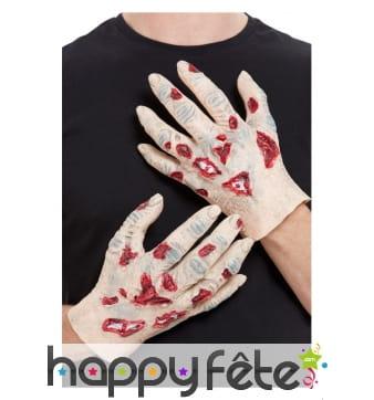 Main de zombie en latex pour adulte
