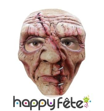 Masque de zombie balafré et recousu
