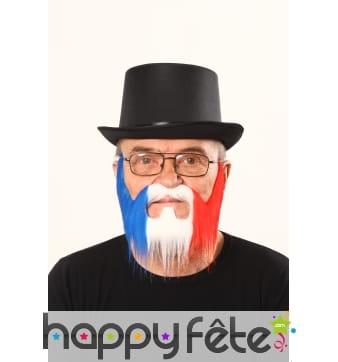 Moustache et barbe bleu blanc rouge