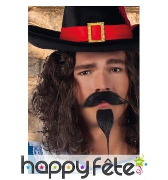 Moustache et barbiche noire de mousquetaire