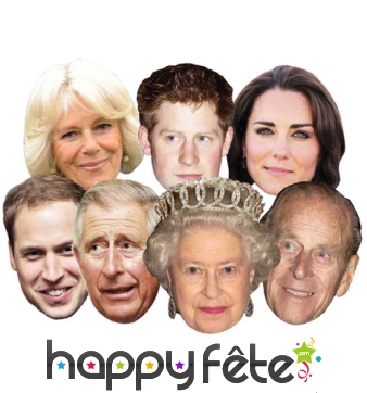 Masques en carton de la famille royale Anglaise