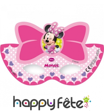 Masques en carton Minnie Mouse noeud rose