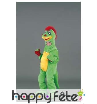 Mascotte enfant dinosaure vert