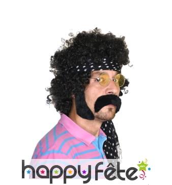 Moustache et favoris noirs de hippie