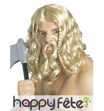 Moustache et perruque blonde de viking