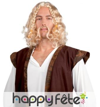 Moustache et perruque blonde ondulée de viking