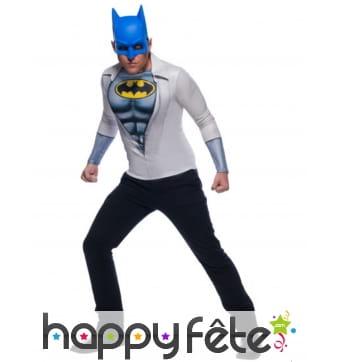 Masque et t-shirt bleu de Batman pour homme