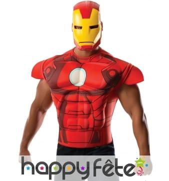 Masque et T-shirt de Iron Man musclé pour homme