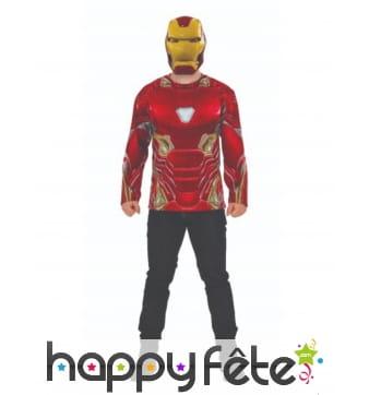 Masque et T-shirt de Iron man pour adulte