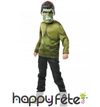 Masque et T-shirt vert de Hulk pour enfant