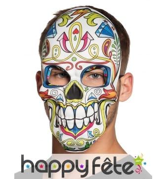 Masque facial blanc dia de los muertos pour adulte