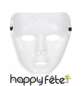 Masque facial blanc uni en plastique souple
