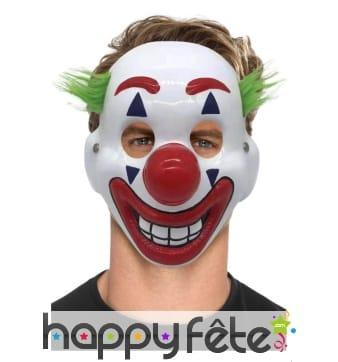 Masque facial de clown avec cheveux verts