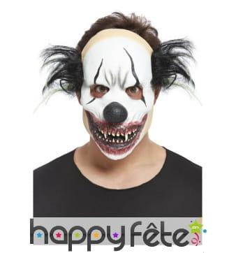 Masque facial de clown sinistre noir et blanc