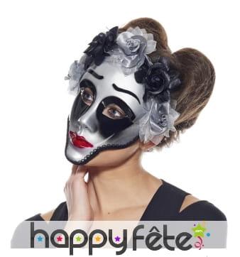 Masque facial jour des morts argenté