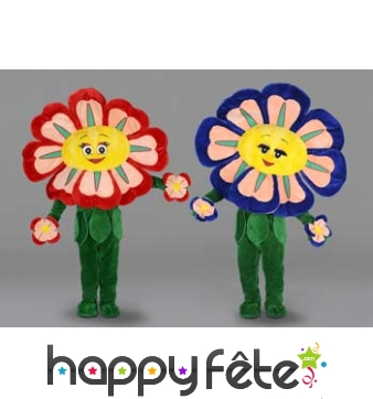 Mascotte fleur rouge ou bleu