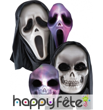 Masque fantome/skull lumineux avec cagoule