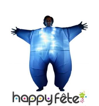 Morphsuit gonflable bleu et lumineux pour adulte