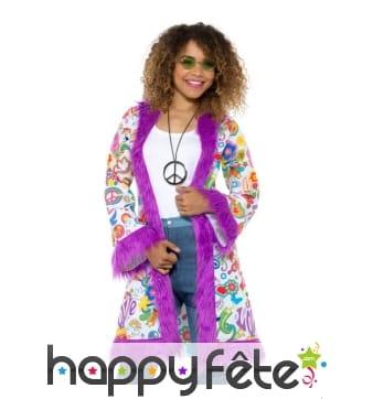 Manteau groovy Hippie années 60 pour femme