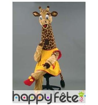 Mascotte girafe robe jaune