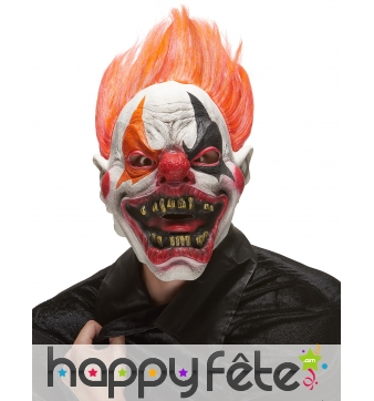 Masque horrible clown avec cheveux rouges