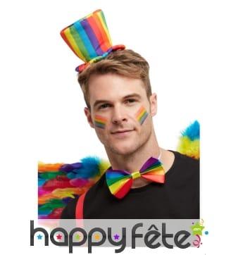 Mini haut-de-forme GayPride sur serre-tête