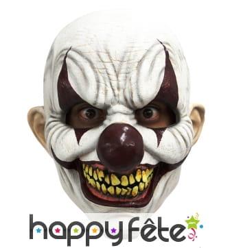 Masque intégral de clown blanc effrayant