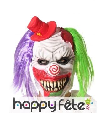 Masque intégral de clown fou, cheveux bicolores
