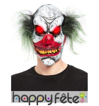 Masque intégral de clown tueur avec yeux lumineux