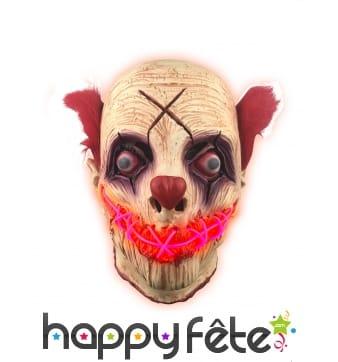 Masque intégral de clown zombie lumineux