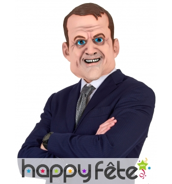 Masque intégral de Emmanuel Macron, humoristique