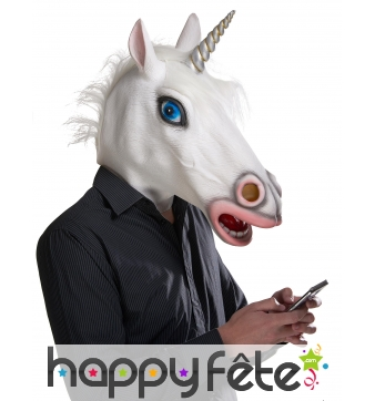 Masque intégral de licorne blanche