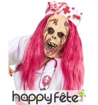 Masque intégral de médecin zombie cheveux roses