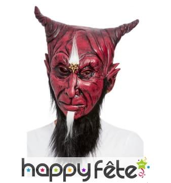 Masque intégral du diable rouge avec barbe noir