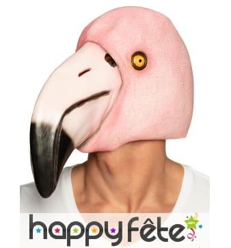 Masque intégral flamant rose en latex pour adulte