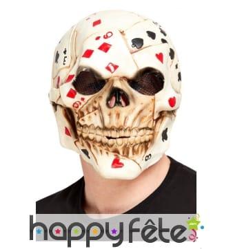 Masque intégral squelette imprimé carte de poker