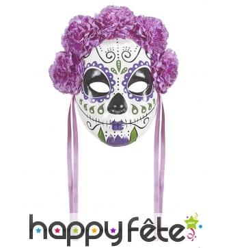 Masque Jour des morts violet avec roses et rubans