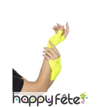 Mitaines jaunes fluo en dentelle