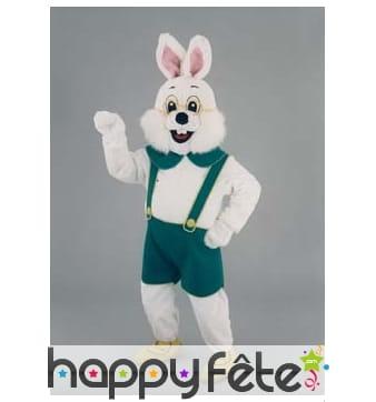Mascotte lapin blanc en salopette