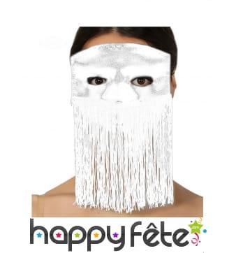 Masque loup blanc avec longues franges