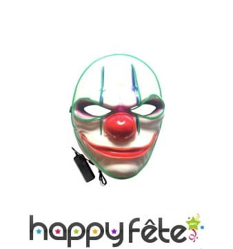 Masque LED de clown psychopathe pour adulte