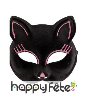 Masque loup de chat noir avec traits rose