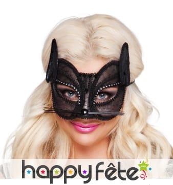 Masque loup de chat noir en dentelle