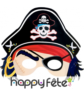 Masque loup de pirate pour enfant, en carton