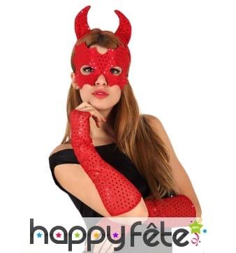 Mitaines masque et cornes de diablesse rouge