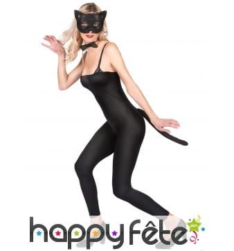 Masque, noeud pap et queue de chat noir dentelle