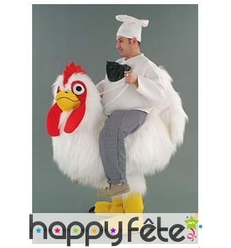 Mascotte poule avec cuisinier