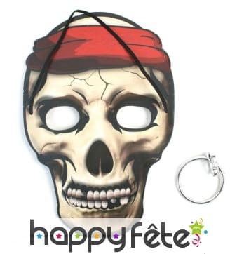 Masque plat de pirate tête de mort